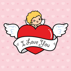 Happy Valentine's day , Cute cartoon Cupid with big heart flying