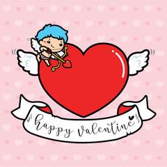 Happy Valentine's day , Cute cartoon Cupid with big heart