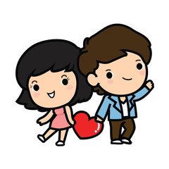 Happy Valentine's day , Cute boy and girl in love