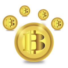 Golden bitcoin sign cryptocurrency in hud target. Low poly geometric finance e-commerce online pay blockchain system background vector illustration