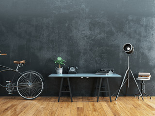 Black room decorated in vintage style. Wall mural
