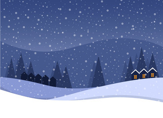 Cartoon flat vector illustration snowing starry Christmas night