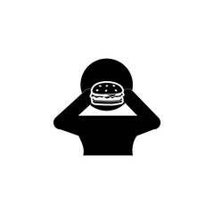 Man eating Burger icon. Breakfast Icon. Premium quality graphic design. Signs, symbols collection, simple icon for websites, web design, mobile app