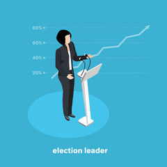 politically the leader at the rostrum, the leading candidate in the election on a blue background, isometric image