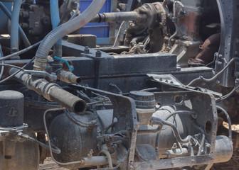 Steel pipe in cement mixer.