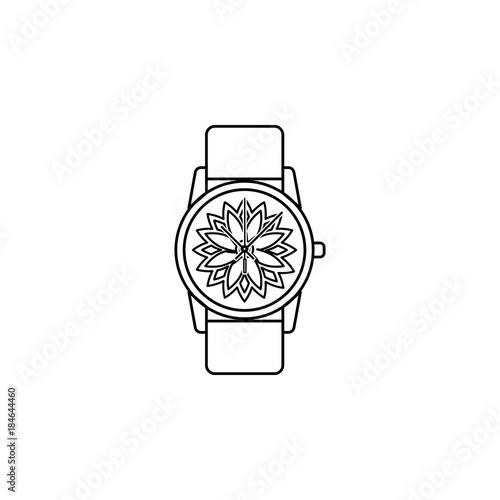 Classic Analog Men Wrist Watch line icon  Clock Icon