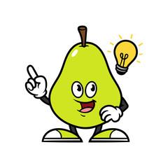 Cartoon Pear Character With Idea