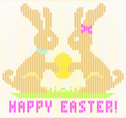 Happy Easter knitted bunny , vector illustration