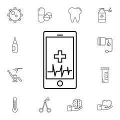 Technology Trends phone health pulse line icon. Set of medicine tools icons. Web Icons Premium quality graphic design. Signs, outline symbols collection, simple icons for websites