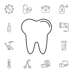 tooth line icon. Set of medicine tools icons. Web Icons Premium quality graphic design. Signs, outline symbols collection, simple icons for websites, web design, mobile app