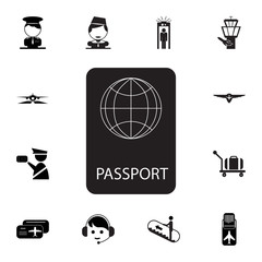 Passport icon. Set of airport element icons. Premium quality aviation graphic design collection icons for websites, web design, mobile app