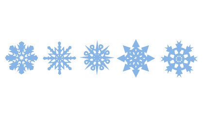 Set of decorative blue snowflakes. Snowflakes icon. Vector illustration