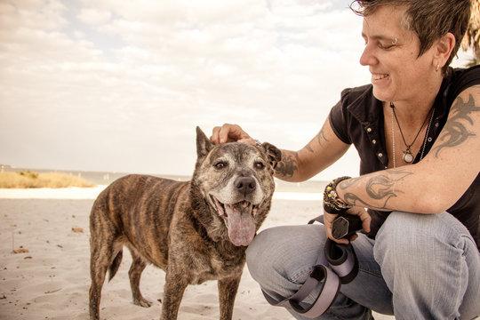 Smiling woman on the beach stroking her pitbull dog, Saint Petersburg, Florida, America, USA