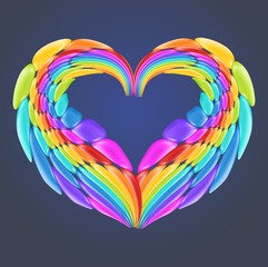 Beautiful rainbow heart with realistic glossy vector elements. Valentine day or symbol gay and lesbian.