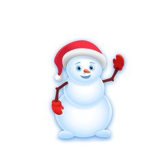 Cheerful Snowman on white background. Vector illustration, eps 10.