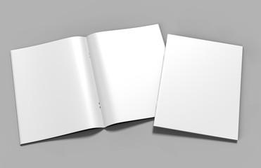 Blank white catalog, magazines, book mock up on grey  background. 3d render illustration.
