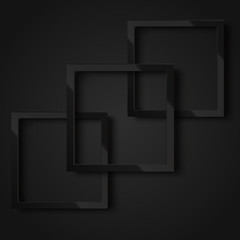 Realistic black square frame for your design or poster. Vector