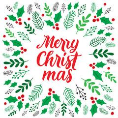 Season's Greetings Christmas card. Botanical festive frame. Vector, eps 10.