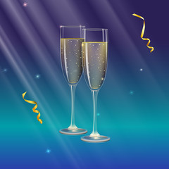 Glasses of champagne and streamer. Rays of light on backdrop. Champagne with bubbles in wineglass with place for your text, 3D illustration