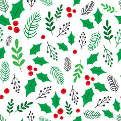 Seamless botanical background. Vector.