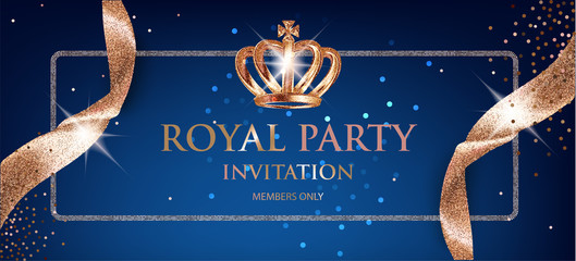 Elegant Royal party invitation  card with beige sparkling ribbons and crown. Vector illustration