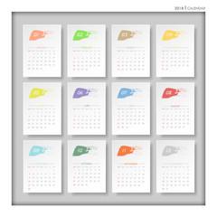 Design brush color calendar of 2018. Vector illustration