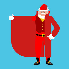 Santa Claus Smuggler selling something template. Cloak-seller isolated. Dealer in hat and coat . Bootlegger. Seller prohibited goods of black marke. Legitimate trade. Vector illustration