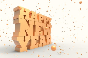 Happy new year illustration design with golden ornaments. 3D illustrating.