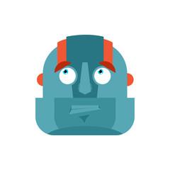 Robot confused emoji oops face avatar. Cyborg perplexed emotions. Robotic surprise. Vector illustration