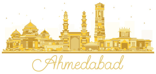 Ahmedabad India City skyline golden silhouette.