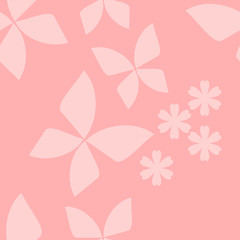 butterfly and tiny flower seamless pattern vector on light pink background.