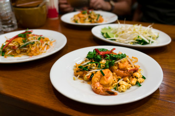 Thai food shrimp and noodle stir fried with eag, Thai traditional food, yummy must try