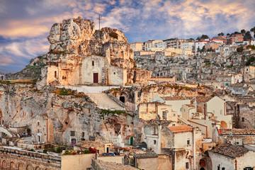 Matera, Basilicata, Italy: landscape of the old town with the rock church Santa Maria de Idris
