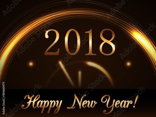 happy new year background with magic gold clock countdown golden numbers 2018 christmas night