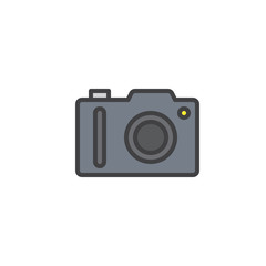 Photo camera filled outline icon, line vector sign, linear colorful pictogram isolated on white. Symbol, logo illustration. Pixel perfect vector graphics