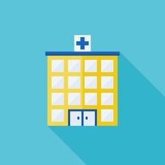 Simple hospital icon, flat design