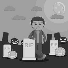 Black and white frankenstein in halloween nigt