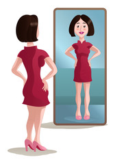shopping woman see on mirror on isolated