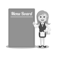Waiter standing beside big menu board black and white style