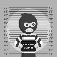 Thief with mugshot background black and white style