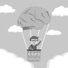 Businessman ride brain air balloon black and white style