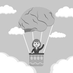 Businesswoman ride brain air balloon black and white style