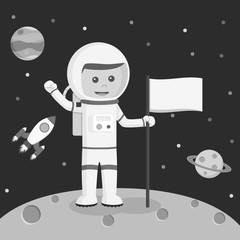 Astronaut holding flag vector illustration design black and white style