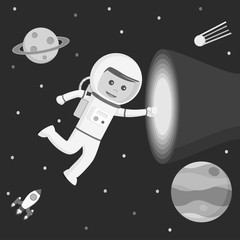 Astronaut touching vortex vector illustration design black and white style