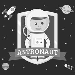 Astronaut in emblem vector illustration design black and white style