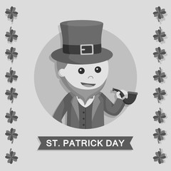 Leprechaun in circle vector illustration design black and white style