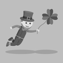 Leprechaun fly with clover leaf black and white style