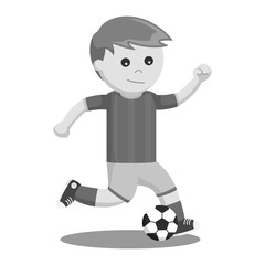 Soccer ball player kicking a ball black and white style