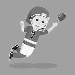 American football player catching ball black and white style