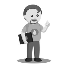 Fat computer geek vector illustration design black and white style
